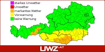 Aktuelle Unwetterwarnungen f�r �sterreich