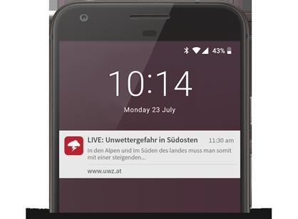 Push-Benachrichtigungen Unwettersituationen Österreich